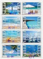 Arbitrary 10pc  HD Pattern Landscape window sticker 120*80cm sofa background bedroom pvc art mural home decor wall  sticker