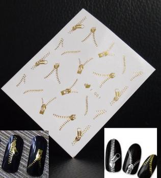 Bling Zipper Water Transfer Stickers Gold Silver Nail Art  Wraps 50 Sheets/Lot