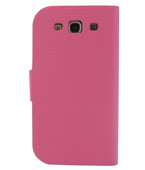 Rose Braided Fabric Faux Leather Folio Stand Case For Samsung Galaxy S3 i9300(China (Mainland))