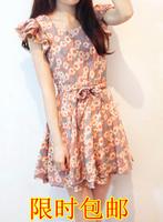 Women's tiebelt small daisy flower ruffle sleeve o-neck chiffon one-piece dress summer