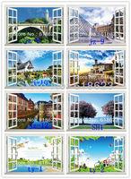 Wholesale 10pc  HD Pattern Landscape window sticker 105*70cm sofa background pvc art mural home decor wall  sticker