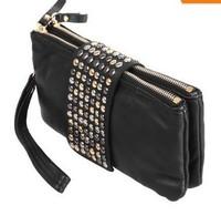 2014 New Hot  PromotionSimple Fashion PU Leather Handbag Rivet Lady Clutch Purse Wallet Evening Bag