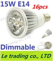 16pcs/lot Hot selling Dimmable E14 5X3W 15W Spotlight Lamp Led Light 85V-265V Led Bulbs Free shipping