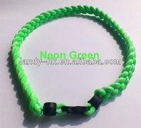 Fashion Neon Green Color Tornado Titanium Germanium Ionic Sports Necklace, 100pcs/lot, Free Shipping