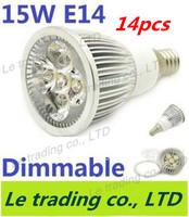 14pcs/lot Hot selling Dimmable E14 5X3W 15W Spotlight Lamp Led Light 85V-265V Led Bulbs Free shipping