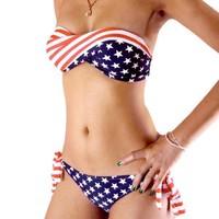 STARS and STRIPES USA Flag bikini PADDED TWISTED BANDEAU tube BIKINI AMERICAN swimwear 5008