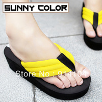 Sunnycolor summer flip flops platform sandals female fashion beach women's shoes high-heeled sandals slippers