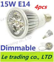 4pcs/lot Hot selling Dimmable E14 5X3W 15W Spotlight Lamp Led Light 85V-265V Led Bulbs Free shipping