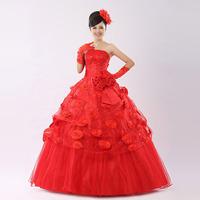 Tube top princess wedding dress red long design