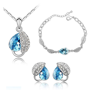 Crystal pendant necklace stud earring bracelet piece set jewelry the bride accessories