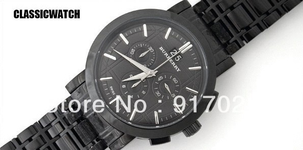 Free Shipping Mens Chronograph Big Date Black Dial Watch BU1385 quartz Movement Water Resistant + Original box+Wholesale(China (Mainland))