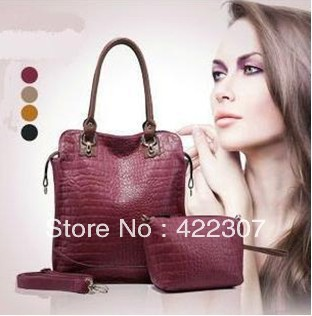 New Stylish Crocodile Pattern Genuine Leather Women Handbags Brand Ladies Totes Bags Popular Handbags Free Shipping 1330(China (Mainland))