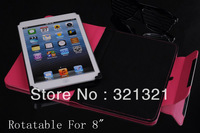 Free Shipping (100pcs/lot) Rotatable Universal PU Leather Protective Case Cover for 8 inch Tablet PC/ E-PAD MID Solid Color