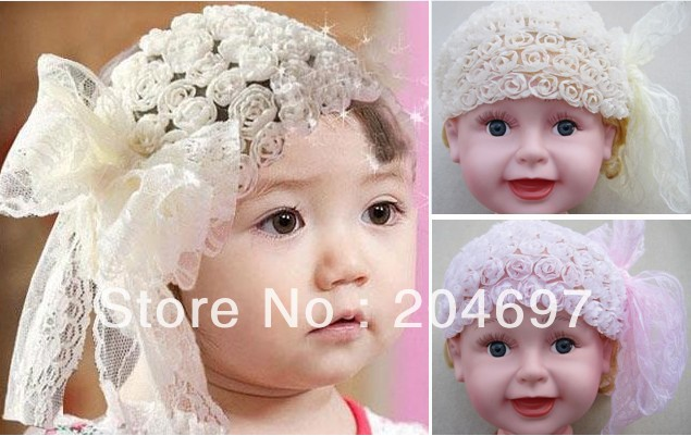 New Arrival Lovely Bowknot Lace Rose Flower Stretch Baby Headband Children&#39;s Headwear Toddler Infant Baby Hair Accessories(China (Mainland))