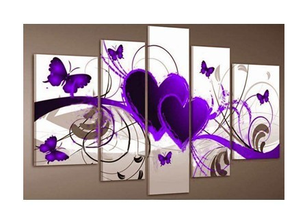 5 piece group wall art Purple And Red Heart Love Butterfly Prints s1335(China (Mainland))