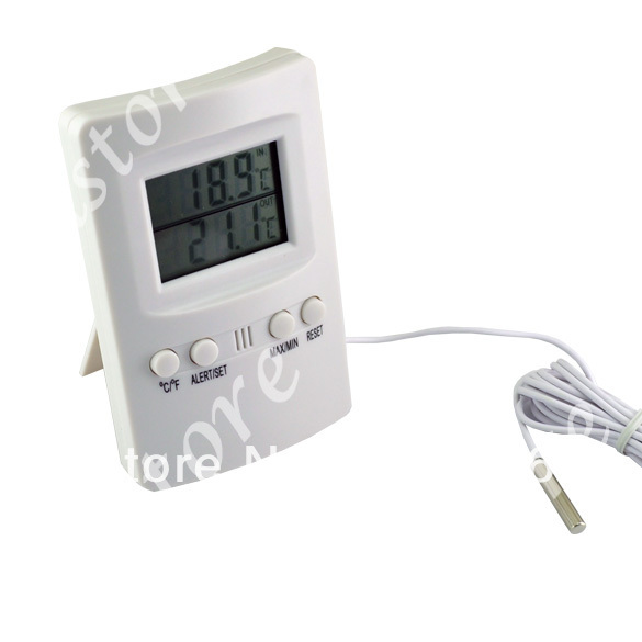 Cheap Digital LCD Outdoor Indoor Thermometer Meter C / F 2 Sensors Alarm 200(China (Mainland))