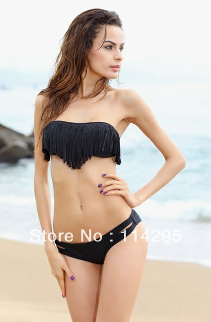 Mix Color,Sexy Black Swimwear,Fashion Fringe Tassel Style,Pure Cotton Padded Bra Top+ Bottom Swim Suit Set,Fit Women & Lady(China (Mainland))