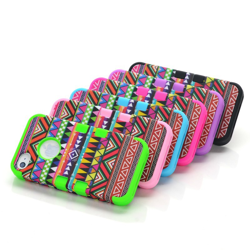 Hybrid colorful 2 in 1 heavy duty African tribe Design plastic + Silicon Case cover for iphone 4 4G 4S Free Shipping(China (Mainland))
