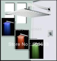 "Luxury 16"" Square Rainfall Led Shower Head+Control Value Shower Faucet Set 50096D Vanity Faucet Contemporary Shower L-3815"