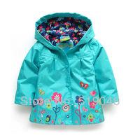 2013 spring & autumn New Arrival! Hot girls beautiful flower windbreaker jacket,export high quality Childern's outerwear & coat
