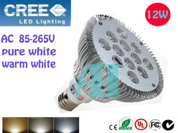 50pcs/lot NEW Big spotlight 12W E27 AC 85-265V  Pa 30 38 Warm white/Pure white/Cool white led spotlight Lamp Bulb Free Shipping