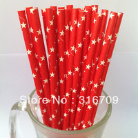 300 pcs (25pcs/opp bag) 19.5MM RED ORANGE YELLOW With Star Printed Paper Straws Wholesale Party Supplies Drinking Paper Straws