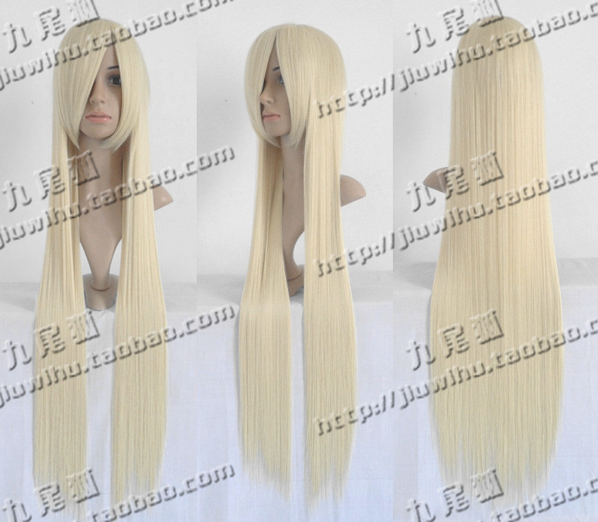 Jiuwei hu cosplay wig 100cm milk gold long straight hair small young girl violin(China (Mainland))