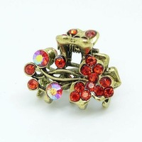 Fashion Vintage Hair Jewerly Crystal Tulip Antique Bronze Hair Claws Hairpins Hair Claw AF111