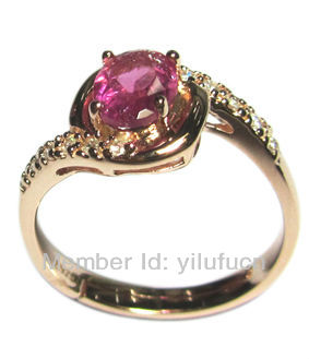 Rose Red Natural Tourmaline Gem Rose gold plated Wedding Tourmaline Ring(China (Mainland))