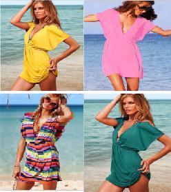 Wholesale Bikini Cover Up Sexy Women Deep V Skirt Colorful VS Swimsuits Lady Shirt Beach Dress
