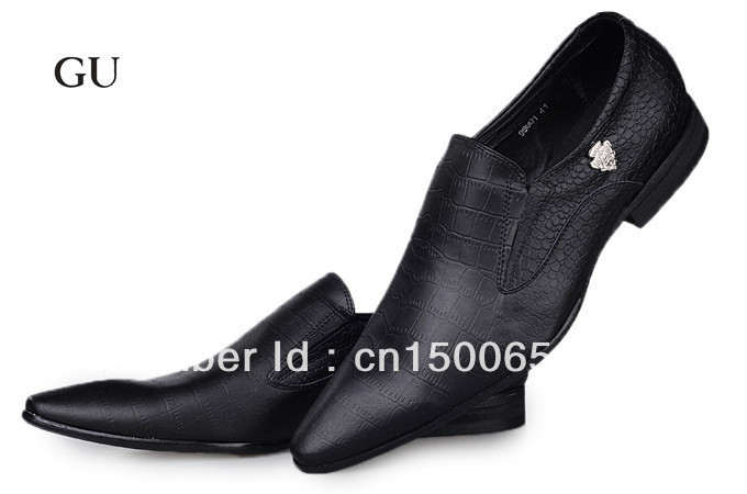 Men&#39;s brand genuine leather shoes fashion pointed toe dress shoes size 41-46(China (Mainland))