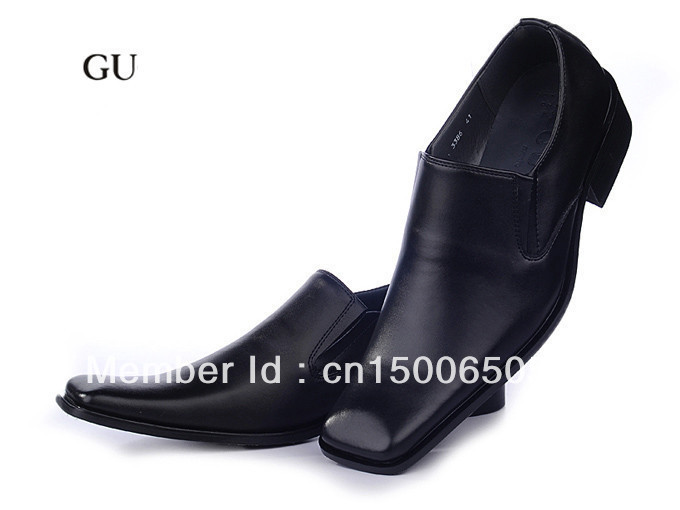 High quality men brand leather shoes fashion Square Toe dress shoes size 41-46(China (Mainland))