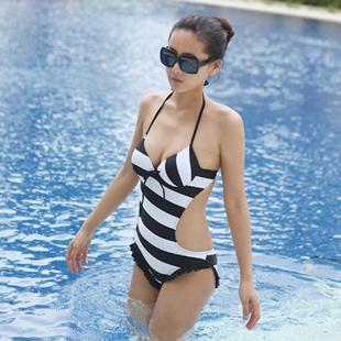women's navy stripe one piece swimsuit figure flattering