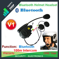 Free Shipping!!2pcs 100M Intercom Bluetooth Motorcycle Race Sports Helmet Headsets Intercom FM Radio MP3 V1