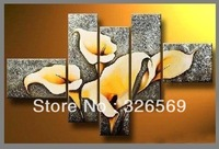 Free shipping yellow tulip  Wall art Home Decoration100%  handmade oil painting wedding /birthday /christams gift