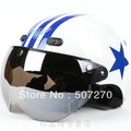 B.75 Taiwan &quot;HUA TAI&quot; ABS Cycling Helm Open Face Motorcycle White &quot; Blue Star Stripe &quot; Helmet &amp; UV &quot; W &quot; Lens &amp; Visor For Summer(China (Mainland))