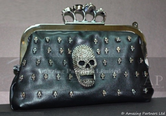 Free Shipping 2013 Unique black diamond Skeletion black clutch evening bag(Hong Kong)