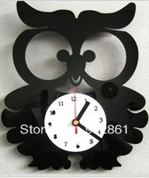 [funlife]-Black Crystal Lovely Owl Decorative Wall Clock Desinger for Living Room Quartz Clock