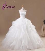 1306 Erose Ball Gown Sleeveless Floor Length Organza Wedding Dress With Ruffles ,Appliques
