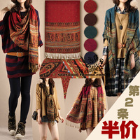 2013 female spring and autumn scarf cape dual bohemia tassel embroidery flower fluid scarf