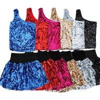 2013 one shoulder cheerleading vest short skirt stage clothing ds paillette dance clothes costume short design set