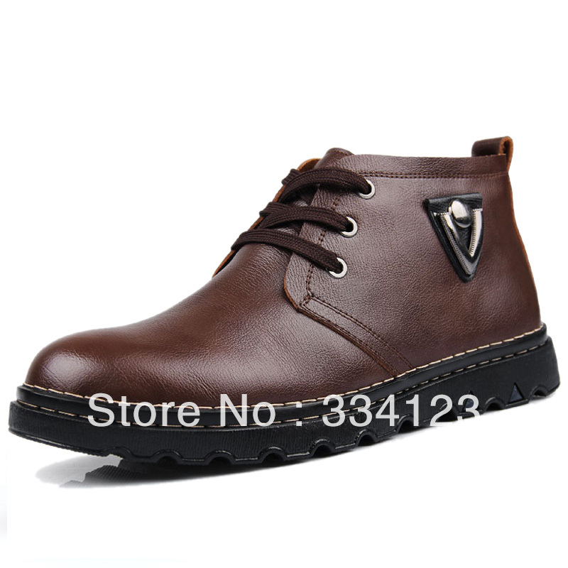 Free Shipping Cotton leather male genuine leather plus velvet casual high-top shoes male the trend of fashion male boots(China (Mainland))