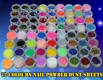 3set/Lot New 72 Pots 6 Kinds of Nail Glitter Powder Art Decoration Crush Shell Bead Free Shipping