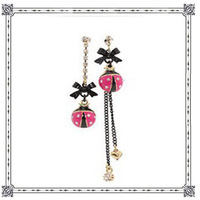 Europe Street Vintage Bow Rhinestone Pink asymmetric ladybug Drop Earrings Free Shipping Drop Shipping