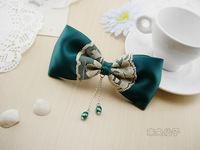 Xitui blackish green botticing lace vintage bow hair accessory brooch