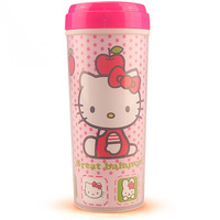 Free shipping 12pcs/lot, 2013 New arrive hello kitty vacuum cup Eco-Friendly plastic cup Double layer water bottle