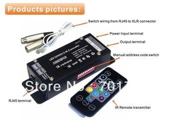 DMX640A;4 channel IR DMX constant voltage decoder,DC12-24V input,4A*4channnel output