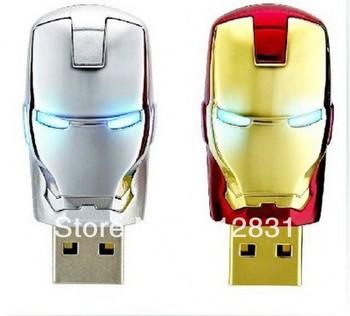 Wholesale Hot sale Fashion Avengers Iron Man LED Flash 4GB-32GB USB Flash 2.0 Memory Pen Drive Stick