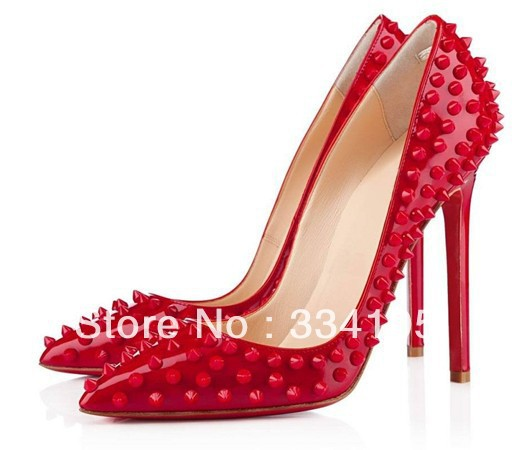 2013 free shipping hot sale office lady high heel shoes red rivets for wedding women(China (Mainland))