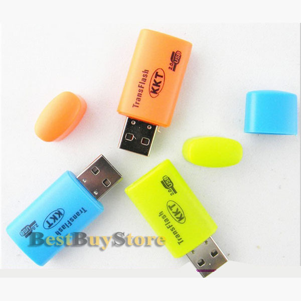 Free Shipping ( 50 piece / lot ) mini USB TF T-Flash / Micro SD card Reader, many colors available(China (Mainland))